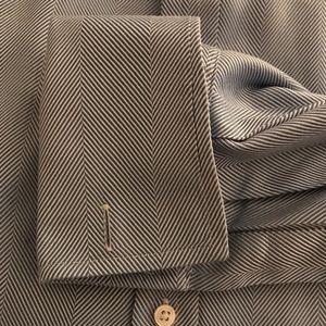 Thomas Pink Shirts - Thomas Pink Blue Herringbone Pattern Shirt 15 1/2